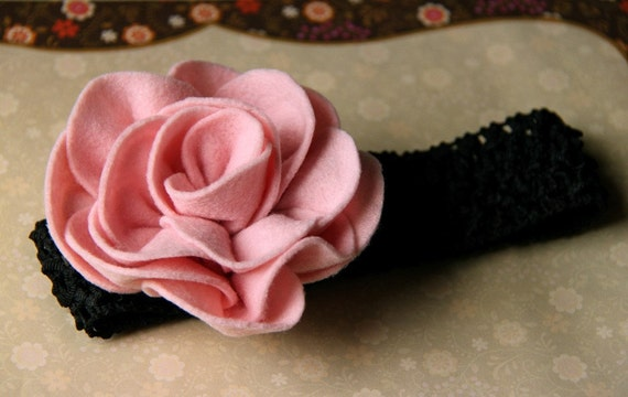 Gabrielle - a large creamy pink felt flower with black crochet headband