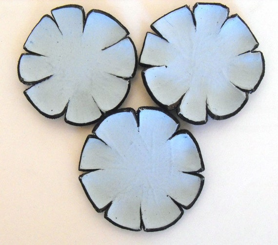Applique, embellishment,cabochon flowers baby blue color made from leather 3 PCS