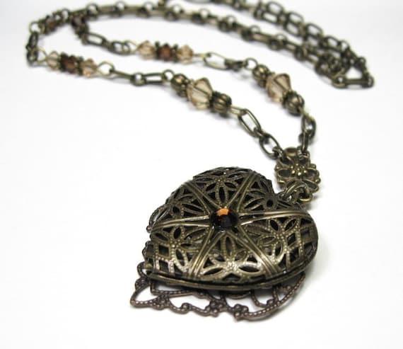 Mocha Topaz and Brass Vintage Style Locket Necklace