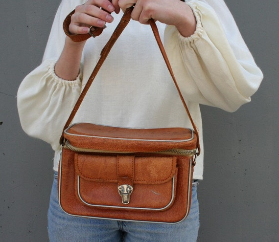 CAMERA CASE 60s Brown Leather Purse
