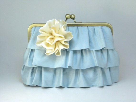 Three Frills Clutch - Pearl Blue with Cream Flower