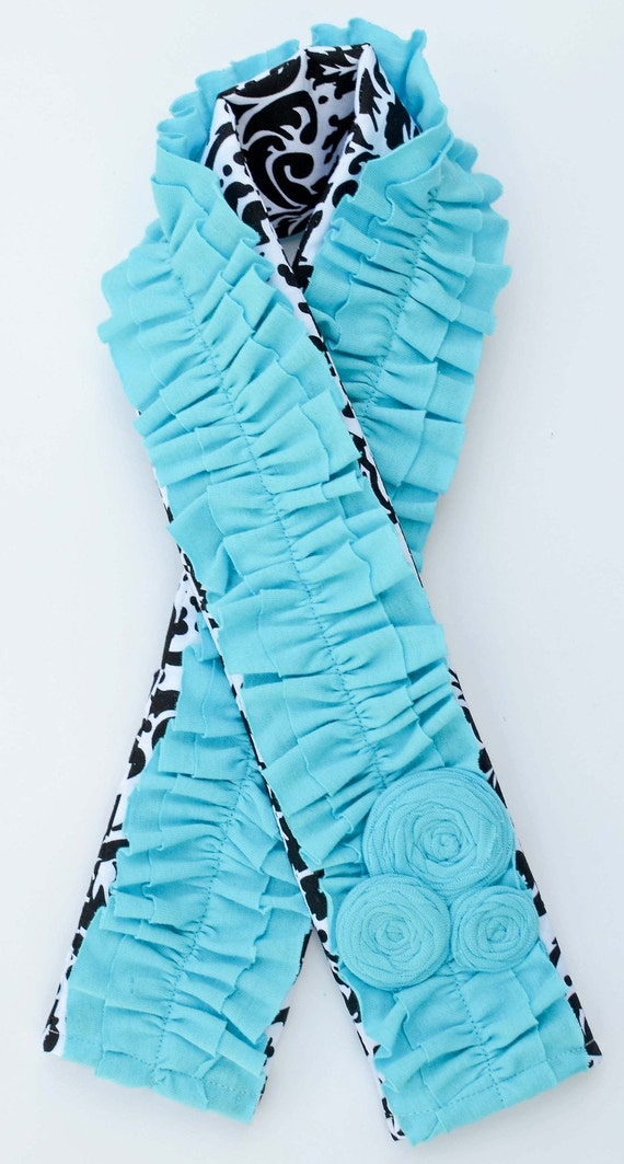 Black and White Damask Camera Strap Cover with Turquoise Ruffles and Rosettes