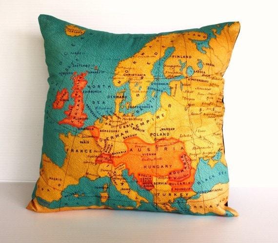 Карта Европы подушке Органический хлопок Винтаж Европе мягкая обивка, подушки покрытия, подушки 16 дюйма