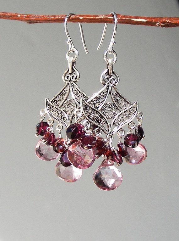 Garnet and Pink Topaz Briolette Sterling Silver Chandelier Earrings