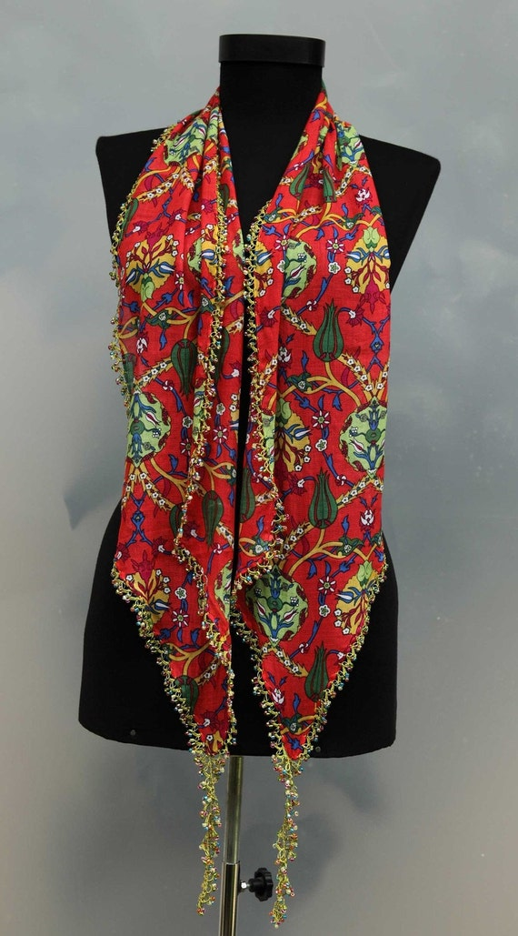 yazma - from Turkey - scarf framed with bead-work on all sides - FREE SHIPMENT - 032-03