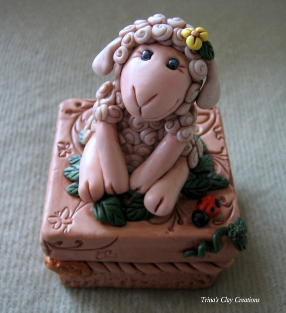 Trinket Box with Sheep
