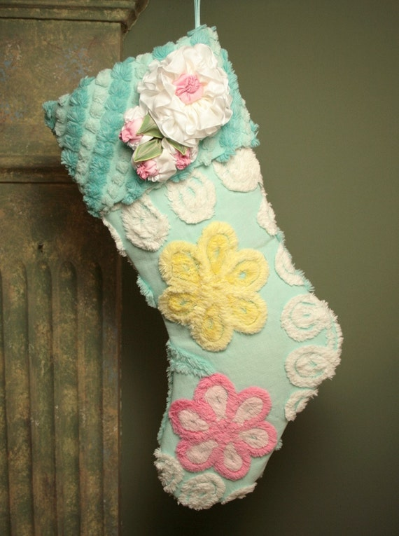 Pink and Yellow Flowers on Aqua Vintage Chenille Christmas Stocking - Vintage-style Millinery Flowers