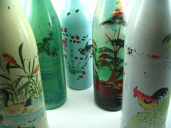 Hand Painted FROG Bottle Vase