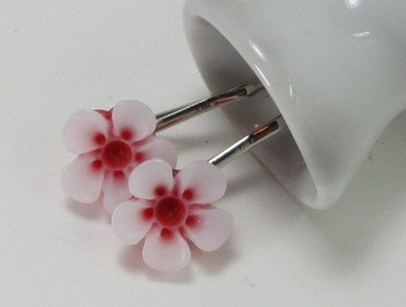 Vintage Inspired Lucite Flower Bobby Pin -  2 Piece Red and White