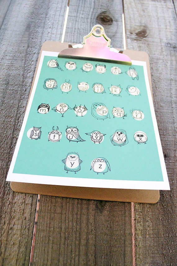 Owlphabet 8x10 Alphabet Print in Turquoise