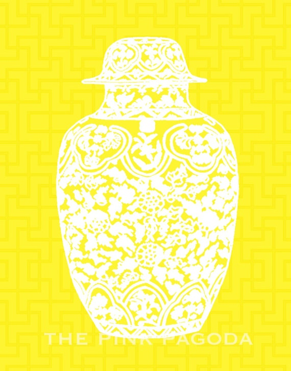 White Ming Chinoiserie Ginger Jar on Yellow Chinese Lattice 11x14 Giclee