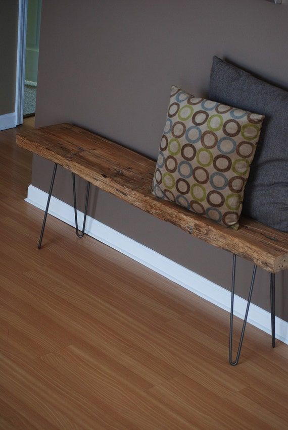 Modern Industrial rustic wood bench with mid century styled steel hairpin legs