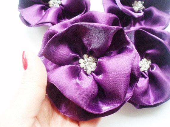 Purple Flowers Handmade Appliques Embellishments4 by BizimSupplies from etsy.com