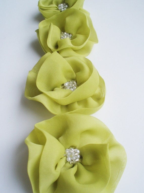 Lime Flowers Handmade Appliques Embellishments4 by BizimSupplies wedding