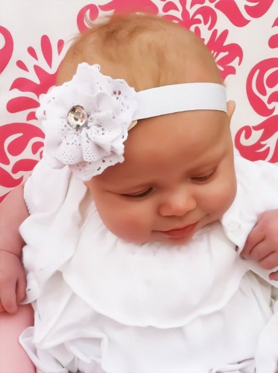 Natalie Headband - White lace flower with jewel on a white band, sizes infant, girls, women