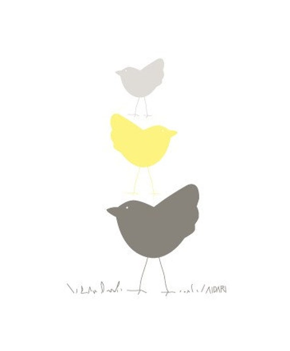 Three Birds in Yellow  8x10 Vector Illustration Print, Graphic Design Print, Nursery Art, Three Birds, Baby, Kids, Children,