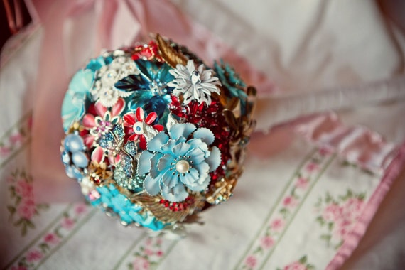 Custom Bridal Bouquet Alternative - Aqua and Red - Handcrafted