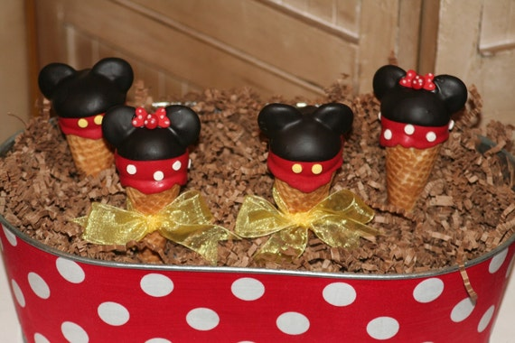 Mom's Killer Cakes & Cookies Original Design Mickey and Minnie Mouse Inspired Ice Cream Cone Cake Pops