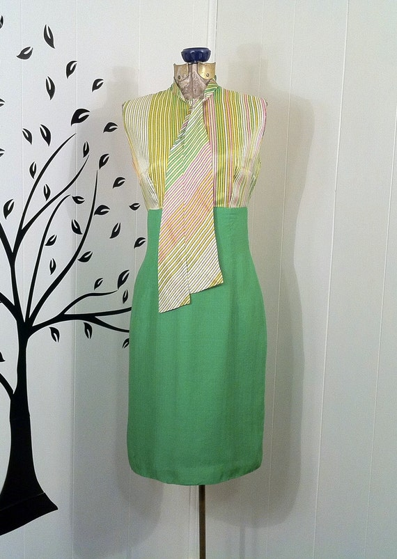 Vintage ELINOR PORTER 1960s Green Striped Secretary Dress