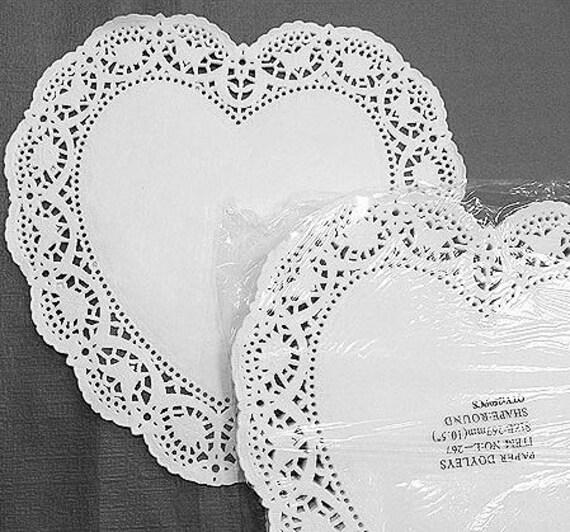 10.5inch Big Heart Shape Lace Paper Doilies ( 267mm - White color 20 sheets)
