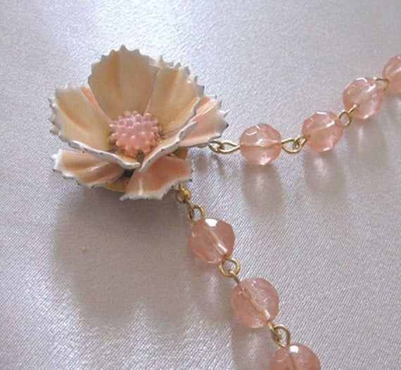 Flower Necklace Vintage Pendant & Peach by sendinglovegallery