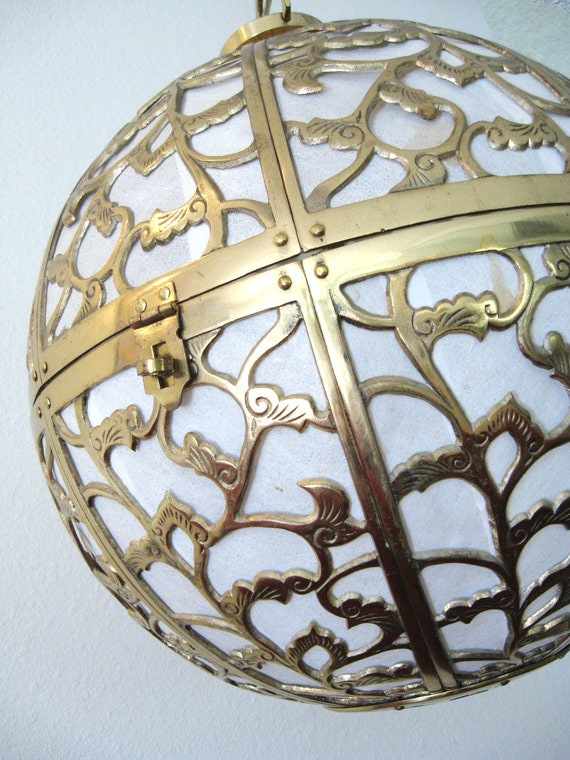 Vintage HOLLYWOOD REGENCY Pierced BRASS Orb Hanging Lamp