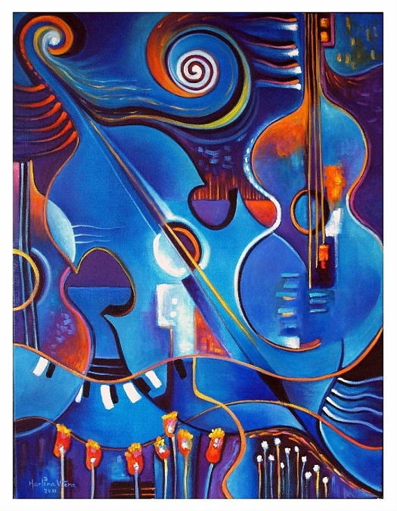 Original Modern Abstract Oil Painting BLUE CONCERT Contemporary Art Marlina Vera