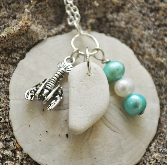 Seaglass Necklace, Beach Pottery Necklace, Lobster Charm, Pearls, White, Silver Plated Chain