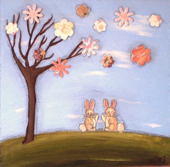 White Bunnies Hello Friend CUTE PRIMITIVE Mixed Media PRINT 6 x 6 inches
