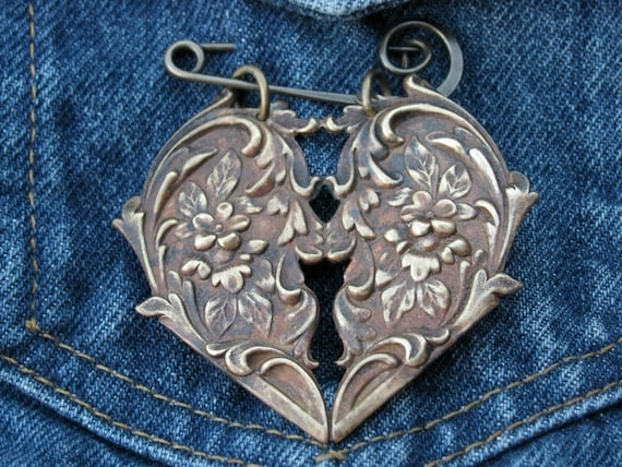 Brass Rococo Style Heart  Brooch Pin with Flowers by bajunajewelry from etsy.com
