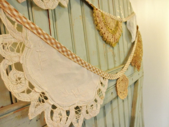 Romantic Vintage Doily Bunting - Garland - 12 Feet of Spring Lace Flags Organic Gingham