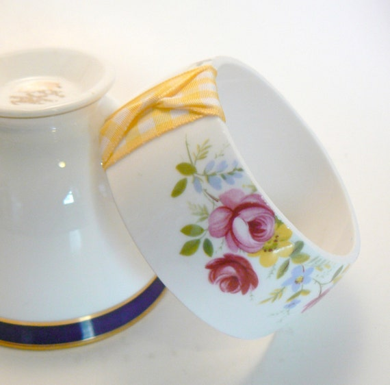 Tea Cup Bracelet- Antique Bone China Queen Anne Ridgeway Pottery England