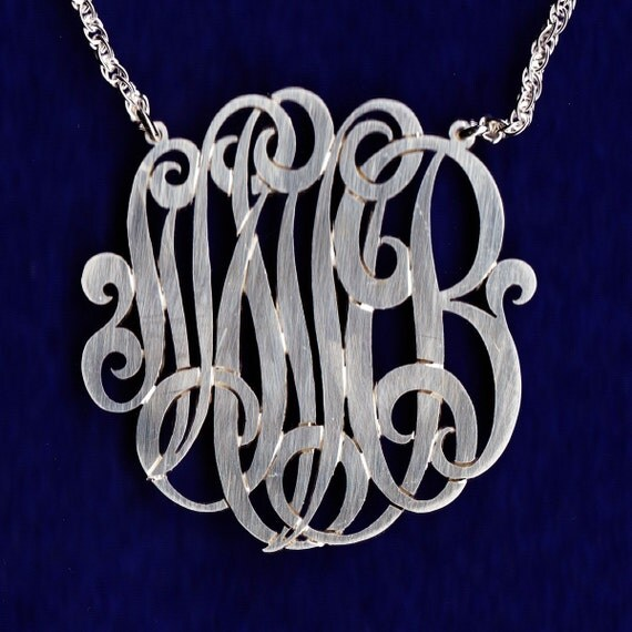 Personalized sterling silver chain or 14K gold monogram pendant necklace jewelry hand made