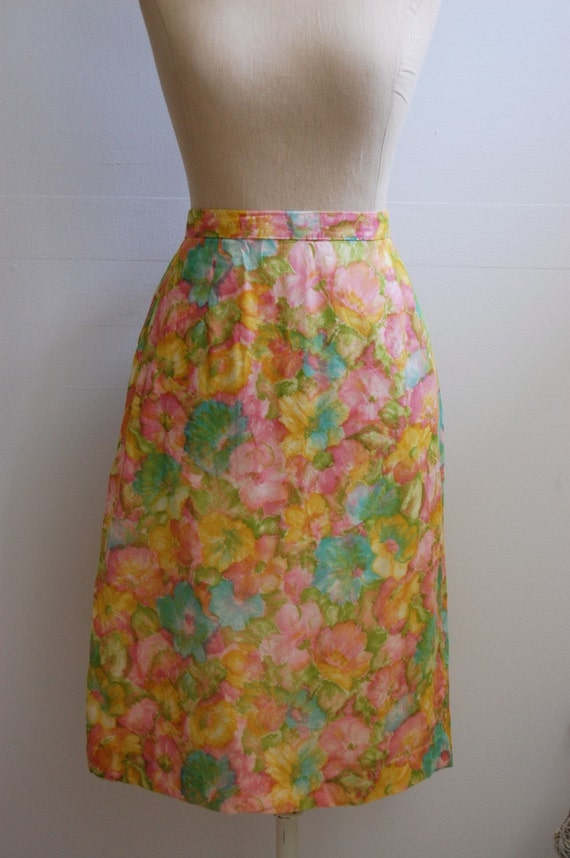 The Ella- Vintage 1960s Pastel Floral Pencil Skirt