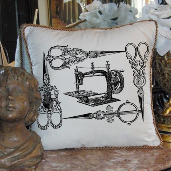 Antique Sewing Machine Ornate Scissors Frame Digital Image Download Transfer To Pillows Tote Tea Towels Burlap No. 2133