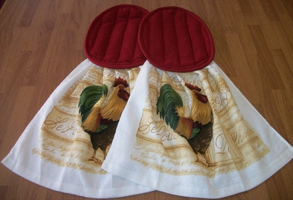 Rooster - Potholder Kitchen Towel Combo