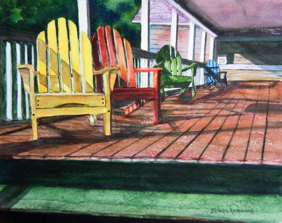 Peaceful Porch Art - Limited Edition Fine Art Reproduction 11x14 Free Shipping