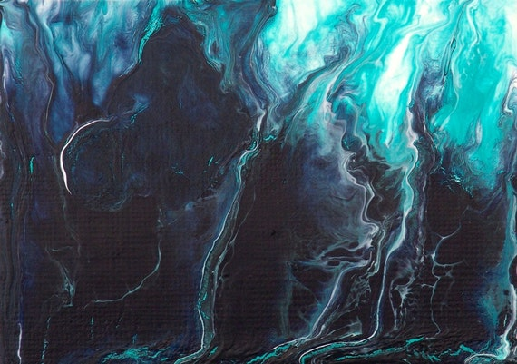Night Storm ACEO Painting Turquoise Aqua Navy by galleryzooart on Etsy