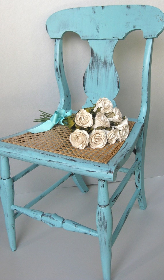 Perfect Shabby Blue Cane Chair