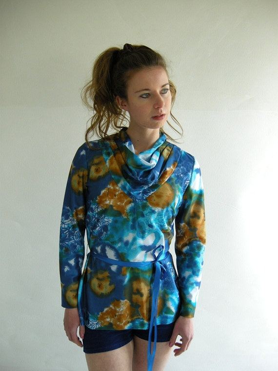 WATERCOLOR Blue Cowl Neck Vintage 70s Blouse S M by empressjade from etsy.com