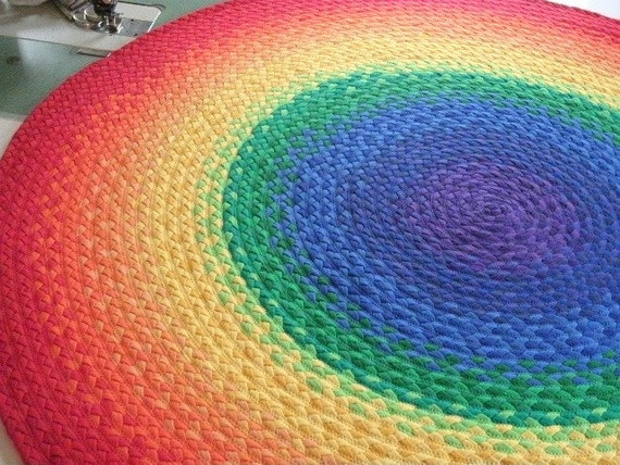 """57"""" Rainbow Rug made from braided recycled t shirt"""