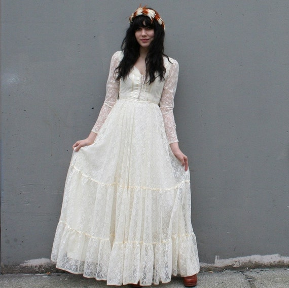 vintage 1970s gunne sax bridal collection ivory lace wedding dress sheer
