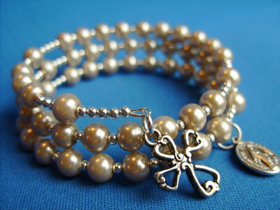 Full 5 Decade Rosary Bracelet w/ Beige Glass Pearls