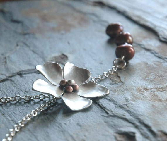 Sweet Magnolia - Sterling Necklace with Baroque Pearls