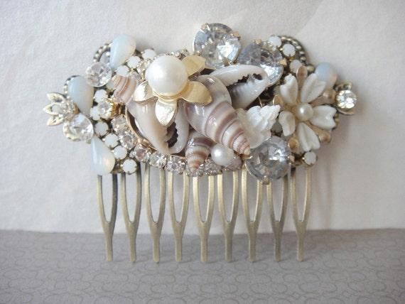 Beach wedding vintage collage bridal haircomb