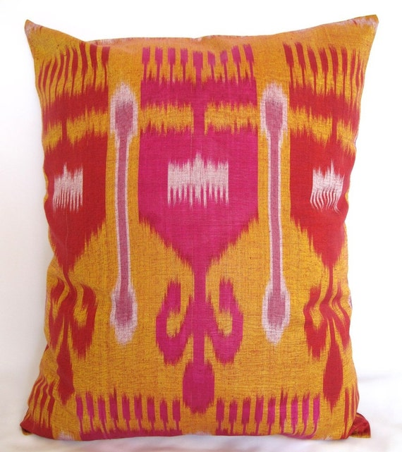 18 x 15 inches Uzbek Ikat pillow cover - fully handmade item