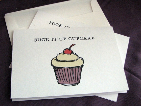 Suck It Up Cupcake Note Card Set