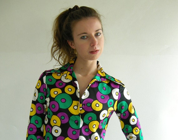 COOL DISCS Multicolor Vintage 70s Disco Shirt  M by empressjade from etsy.com