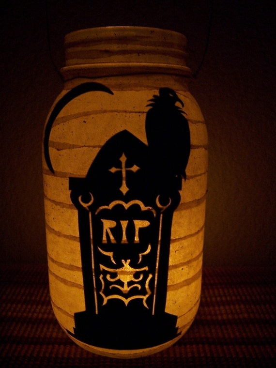 Grungy Primitive Halloween Tombstone Lantern Luminary Candle Holder