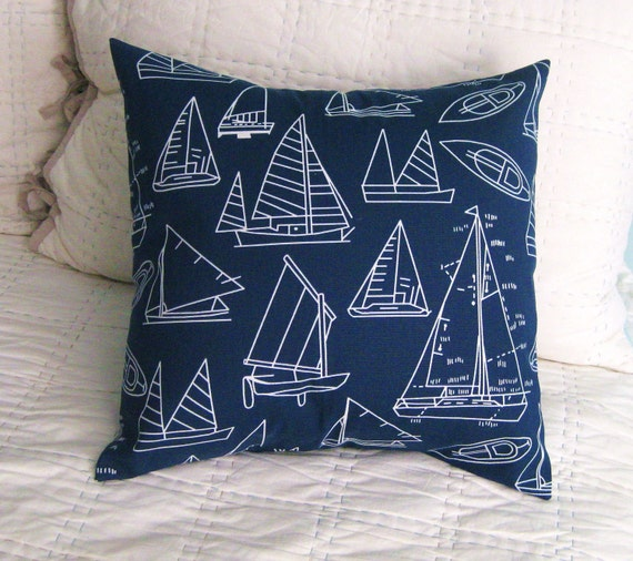 Good Housekeeping Featured Item Nautical Navy Sailboat Print Pillow Cover